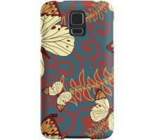 Butterflies, Insects, Swirls - Red Blue Brown  Samsung Galaxy Case/Skin