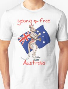 Family friendly Young & Free Australia Thumbs Up Tattooed Kangaroo Design T-Shirt