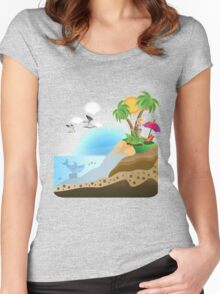 Happy Girl on Island Women's Fitted Scoop T-Shirt