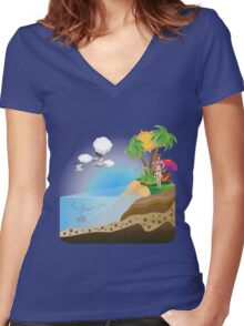 Happy Girl on Island 2 Women's Fitted V-Neck T-Shirt