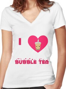 I heart bubble tea Women's Fitted V-Neck T-Shirt