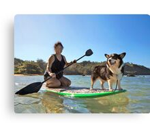 Happy Pup Paddle Boarding Canvas Print