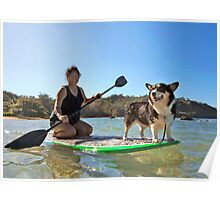 Happy Pup Paddle Boarding Poster