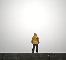 Person Wearing Rain Coat with Empty Space by Dan Jesperson