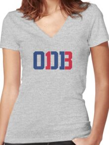 Odell Beckham Jr. | ODB 13 (Red/Blue Colorway) Women's Fitted V-Neck T-Shirt