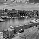 Heraklion Old Port B&W by Tom Gomez