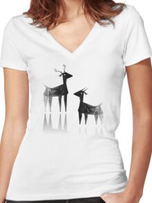 Geometric animals 3 Women's Fitted V-Neck T-Shirt