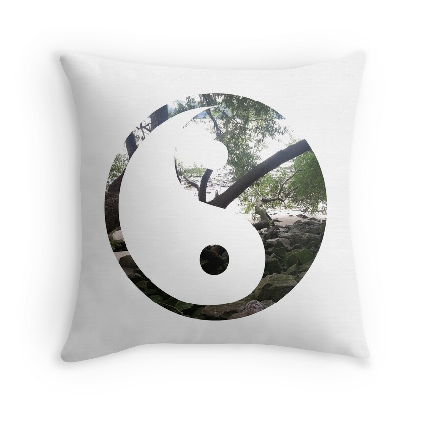 yin and yang throw pillows by misscellaneous redbubble. Black Bedroom Furniture Sets. Home Design Ideas