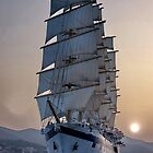 Royal Clipper at dusk  by Nancy Richard