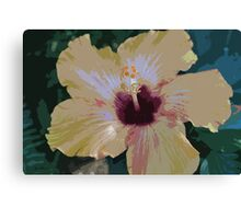 Yellow & Pink California grown Hawaiin Hibiscus Flower - vector art Canvas Print