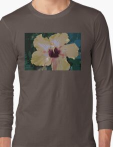 Yellow & Pink California grown Hawaiin Hibiscus Flower - vector art Long Sleeve T-Shirt