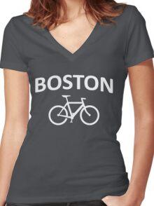 I Bike Boston - Fixie Design Women's Fitted V-Neck T-Shirt