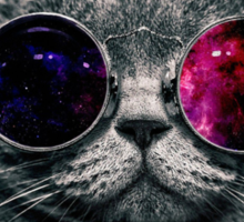 Space Cat With Glasses Sticker