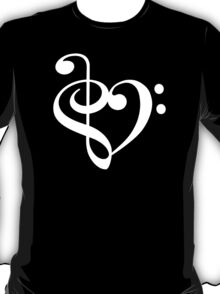 Treble-Bass Heart WHITE T-Shirt