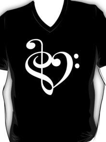 Treble-Bass Heart WHITE T-Shirt