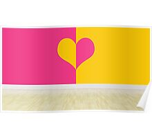 heart designing walls in empty room Poster