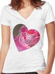 Heart with a Swirl Women's Fitted V-Neck T-Shirt