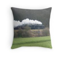 Steaming through the fields Throw Pillow