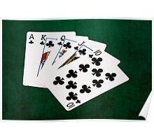 Poker Hands - Royal Flush Clubs Suit Poster