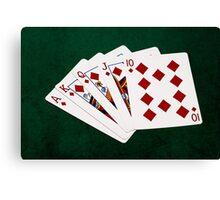Poker Hands - Royal Flush Diamonds Suit Canvas Print