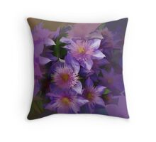 Abstract or Purple Clematis  belonging to lianne Throw Pillow