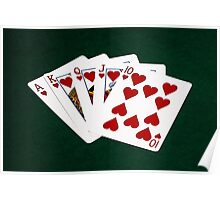 Poker Hands - Royal Flush Hearts Suit Poster
