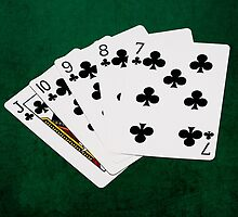 Poker Hands - Straight Flush Clubs Suit by luckypixel