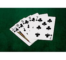 Poker Hands - Straight Flush Clubs Suit Photographic Print