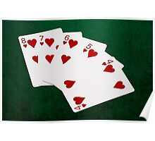 Poker Hands - Straight Flush Hearts Suit Poster