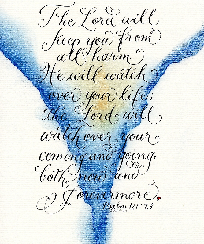 The Lord watch over you Psalm 121 verse art design by Melissa Goza