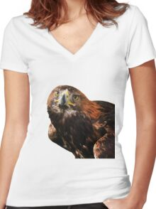 Golden eagle looking at camera  Women's Fitted V-Neck T-Shirt