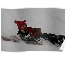 sledding in the snow Poster