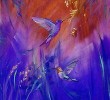 Hummingbirds in Purple by Jane Delaford Taylor