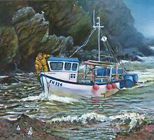 Cornish traditional fishing boat painting by Marion Yeo
