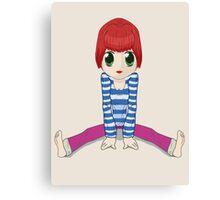 Chibi girl sitting on the floor Canvas Print