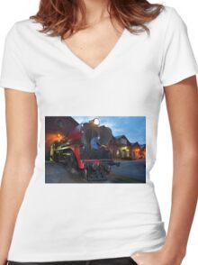 0822 End of day maintenance Women's Fitted V-Neck T-Shirt