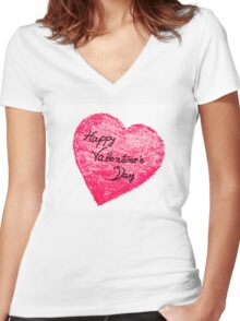 Happy Valentines Day greeting card Women's Fitted V-Neck T-Shirt