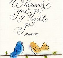 Wherever you go Ruth verse calligraphy art by Melissa Goza