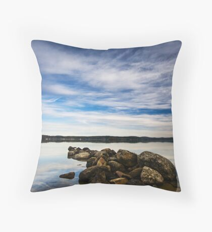 Rocks on Lake Winnipesaukee Throw Pillow