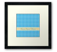 home, sweet home, lovely country style blue plaids graphic pattern. Framed Print