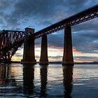 Sunset at the Forth Rail Bridge, nr. Edinburgh by George Ledger