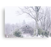 A Rustic Barn in Maine in Winter Canvas Print