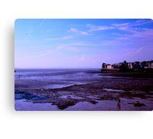 Blue hour on the  UK Beach.. Canvas Print