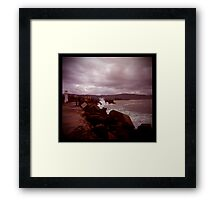 little lighthouse and breakwater Framed Print