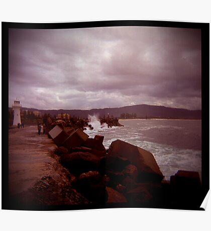 little lighthouse and breakwater Poster