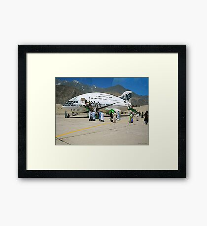 Pakistani Interstellar Airlines Arriving at The Moon Of Gilgit Prime in the Ashad Constellation Framed Print