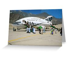 Pakistani Interstellar Airlines Arriving at The Moon Of Gilgit Prime in the Ashad Constellation Greeting Card