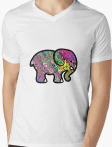 Trippy Elephant Mens V-Neck T-Shirt