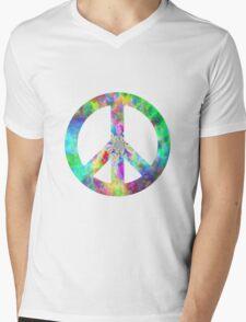 Peace Sign Trippy Hippie Mens V-Neck T-Shirt