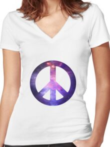 Peace Sign Galaxy Women's Fitted V-Neck T-Shirt